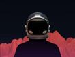 Leinwandbild Motiv Astronaut with Mars Mountain Landscape