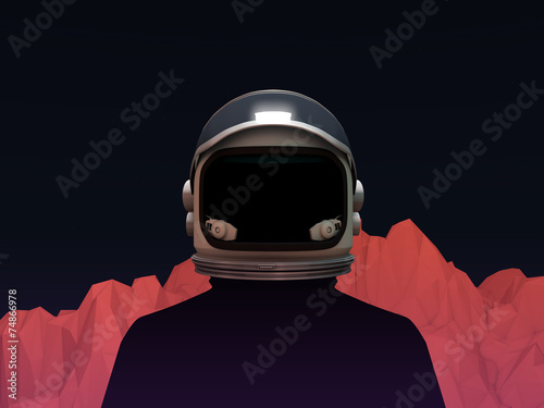 Astronaut with Mars Mountain Landscape - 74866978
