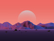 Leinwanddruck Bild - Low-Poly Mountain Landscape with Moon