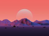 Low-Poly Mountain Landscape with Moon - 74867183