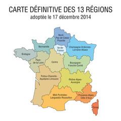 Carte définitive des 13 régions