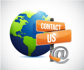 globe and contact us sign , illustration