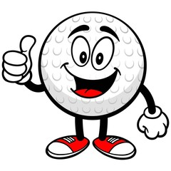 Golf Ball with Thumbs Up