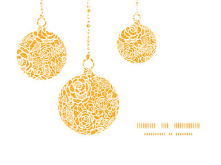 Vector golden lace roses Christmas ornaments silhouettes pattern