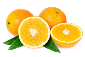 oranges fruits isolated on white