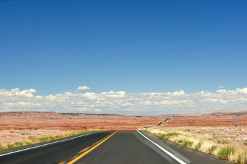 American Road in the Desert. Monument Valley Scenery