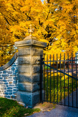 Autumn color and the gate of the Gettysburg National Cemetary, P