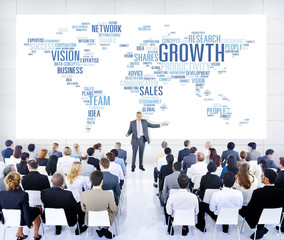 Business People Meeting Leader Speaker Growth Concept