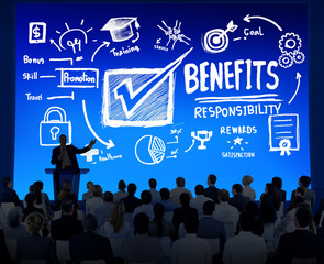 Benefits Gain Profit Earning Income Business Seminar Concept