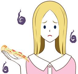 女性 ピザ 困り顔