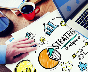 Strategy Development Goal Marketing Vision Planning Hand Concept