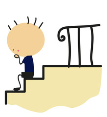 Doodle little boy sitting on stairs - Full Color
