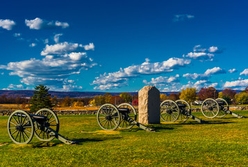Cannons and a monument at Gettysburg, Pennsylvania.