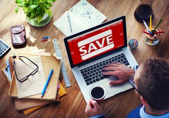 Man Working Computer E-Commerce Retail Promotion Sale Concept