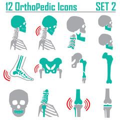 12 Orthopedic and spine symbol Set 2 - vector illustration eps 1