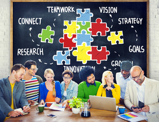 Teamwork Team Connection Strategy Partnership Support Puzzle Con