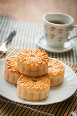 mooncake , traditional chinese foods during mid autumn festival
