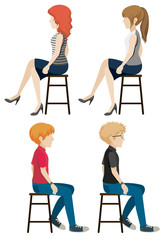 Four faceless people sitting