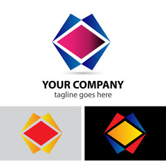 Rhombus impossible figure vector logo template. Square abstract