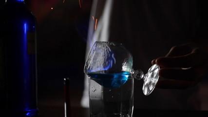 Barmen Ignites Alcohol Cocktail