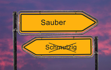 Strassenschild 22 - Sauber