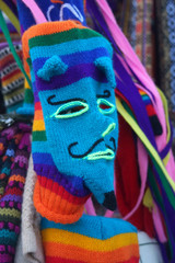 Woven mask at market in Cusco, Peru