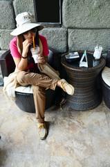 Thai woman drink coffee
