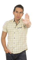 young handsome hispanic man posing gesturing stop