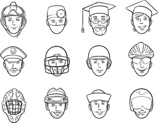 whiteboard drawing - cartoon avatar faces job occupations