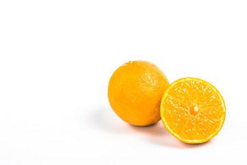 one mandarin and half fruit