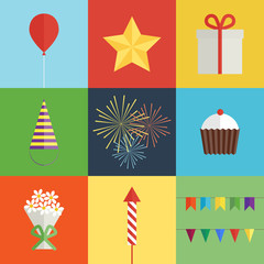 Birthday party icons set
