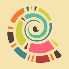 Colorful background with abstract shell in retro colors