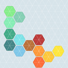 Colorful background with pattern for patchwork with stitches and