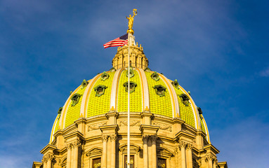 Evening light on the dome of the Pennsylvania State Capitol in H
