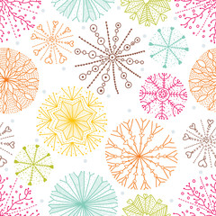 Cute seamless pattern with snowflakes.