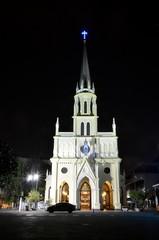 Christian church in Bangkok, Thailand. Night view