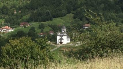 A mountain village church