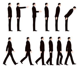 歩くビジネスマンとお辞儀するビジネスマン