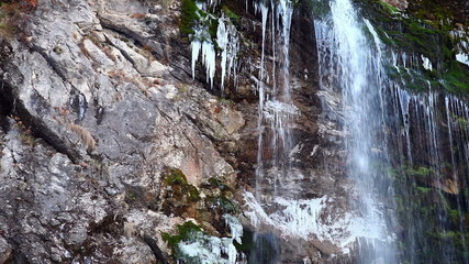 Waterfall, stream of water falling from a cliff