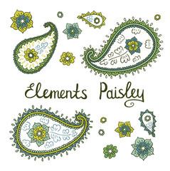 Vector Paisley floral decorative elements
