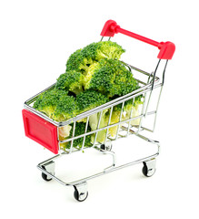 Broccoli florets in shopping cart