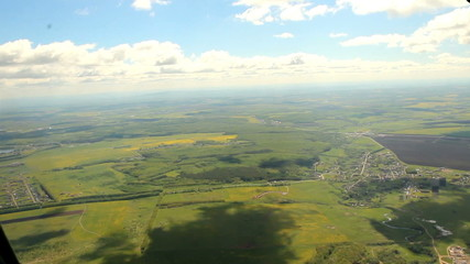 Nature, aerial view of a light aircraft. summer