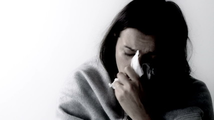 Woman feeling very sick with fever