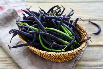 Harvest Green beans in a wicker basket