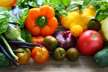 background with fresh seasonal vegetables