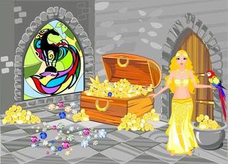 Treasure house with beautiful oriental Princess