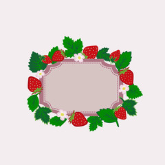 Vector strawberry frame isolated