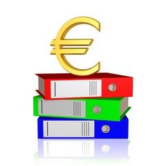 Euro und Aktenordner - Finanzcheck, Bürokratie