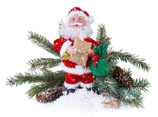 Santa Claus and tree on a white background