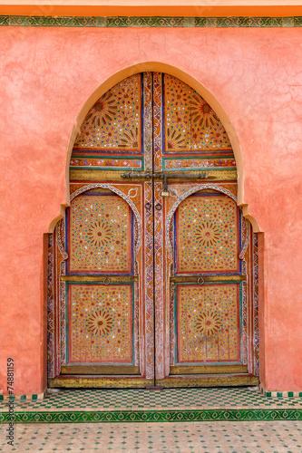 Foto op Aluminium Marokko porte en bois peinte , marrakech